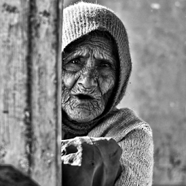 WRINKLES IN TIME by Gopi Verma - People Portraits of Women ( wrinkles, black and white, age, old woman, portrait,  )