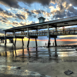 Pier Play by Harry James - Buildings & Architecture Bridges & Suspended Structures ( water, coastal georgia, golden isles, saint simons island, sunset, pier )