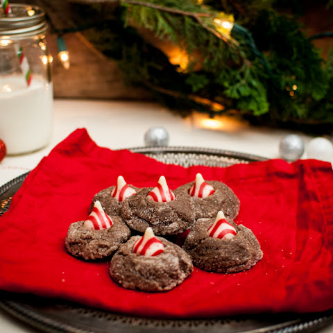 Chocolate Candy Cane Kiss Cookies