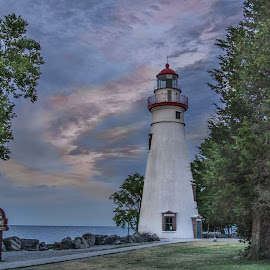 Sunset on Marblehead by Pat Lasley - Buildings & Architecture Public & Historical ( marblehead, sky, sunset, lighthouse )