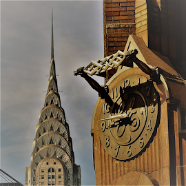 Clock and Chrysler by Hal Gonzales - Buildings & Architecture Office Buildings & Hotels ( nyc, skyscraper, clock, skyline, building,  )