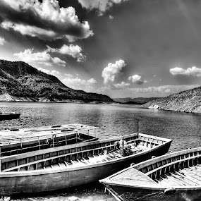 Nangal in B&W by Shikhar Sharma - Transportation Boats ( nanagal, govind sagar lake, punjab, boats, bhakra dam )