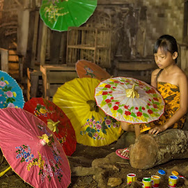 Umbrella girl by Dikye Darling - Babies & Children Toddlers ( girl, umbrella, traditional, portrait )