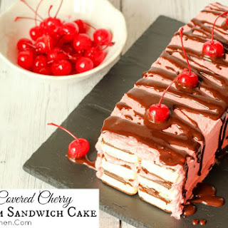 Chocolate Covered Cherry Ice Cream Sandwich Cake