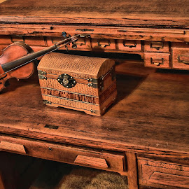 violin and box on 1920s desk by Christopher Barker - Artistic Objects Antiques ( violin, desk, 1920s, wood box )