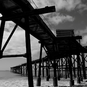 Catho Pier by David Spillane - Landscapes Beaches ( black and white, b and w, landscape, b&w, monotone, mono-tone )