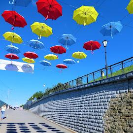The umbrellas and the shadows by Svetlana Saenkova - City,  Street & Park  Street Scenes ( blue sky, russia, perm, shadows, colourful, umbrellas, summer )