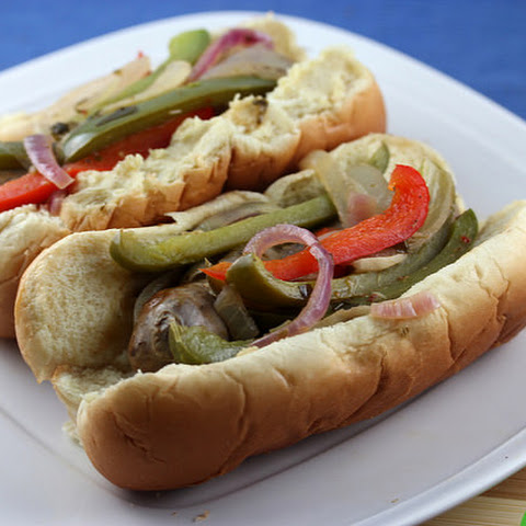 Italian Sausage peppers and onions in a Bun