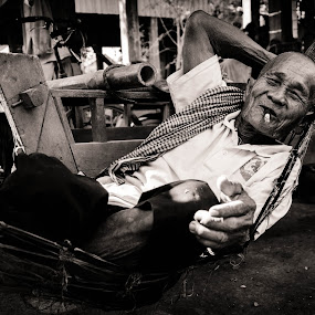 The Old Khmer Farmer by Mateo de la Vega - People Portraits of Men ( old, phnom penh, smoking, khmer, cambodia, man )