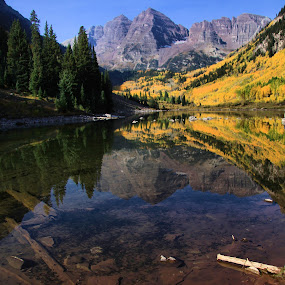 Maroon Bells by Jen Millard - Landscapes Mountains & Hills ( reflection, mountain, nature, autumn, fall, bells, colorado, maroon, lake )