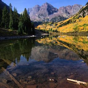 Maroon Bells by Jen Millard - Landscapes Mountains & Hills ( reflection, mountain, nature, autumn, fall, bells, colorado, maroon, lake )
