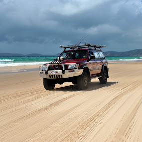 Driving on the beach by Sharon Verschelling - Transportation Automobiles