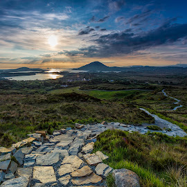 Connemara by Jim Hamel - Landscapes Prairies, Meadows & Fields ( connemara, ireland, sunset, path, galway )