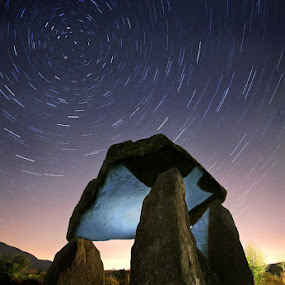 Passage Of Time by Gary McParland - Landscapes Starscapes ( ireland, ancient, ballykeel, night, star trails, portal tomb, armagh, dolmen )