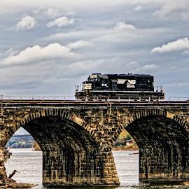 Train on a Bridge by Gregory Evans - Transportation Trains ( water, sky, train, bridge )