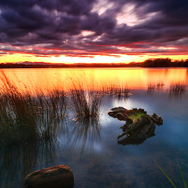Before The Darkness by Surya Fajri - Landscapes Sunsets & Sunrises ( clouds, canon, milvus21, sunset, canonaustralia, canberra, lake, zeiss, travel, photography, lakeburleygriffin )