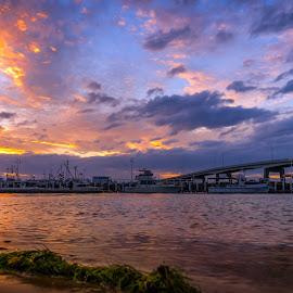 Bridge Sunset by Keith Walmsley - Landscapes Sunsets & Sunrises ( victoria, coast, reflection, sunset, australia, bridge, boats, clouds, water, landscape )