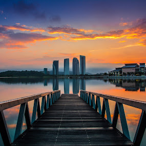 Sunrise in Putrajaya by Jacky Photography - Travel Locations Landmarks ( putrajaya, reflections, cloud, lake, bridge, sunrise )