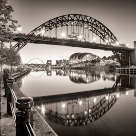 The Tyne by Adam Lang - Black & White Buildings & Architecture ( quayside, tyneside, reflections, gateshead, tyne bridge, newcastle, river )