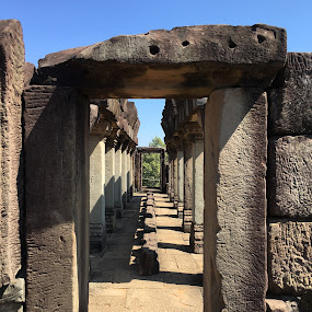 Corridor by Wan Loy Yeong - Buildings & Architecture Public & Historical ( corridor, perspective, architecture, historical, stones, cambodia,  )