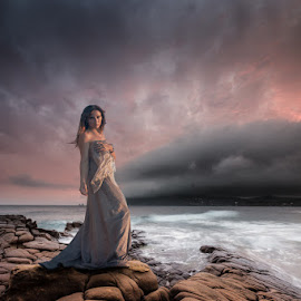 Stay by James Poulsom - Digital Art People ( sunset, voiles, woman, sea, beach, storm, landscape, composite, coast )