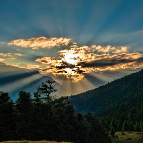 Mysterious  Sun ray 2 by Arindam Chakrabarty - Landscapes Cloud Formations ( colour, sun ray, nature, green, evening )