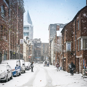 First snow in the city by Nistorescu Alexandru - City,  Street & Park  Street Scenes ( #snow, #firstone, #first, #pleasant, #city, #fx,  )