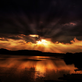 Rays of gold by Dawn Vance - Landscapes Travel ( water, reflection, mountain, sky, dawn, douglas lake, rise, sunrays, lake, sunrise, morning )