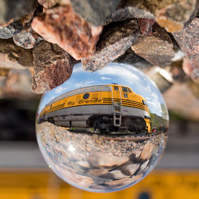 Moving Through the Crystal by Logan Knowles - Artistic Objects Glass ( ball, moving, train, crystal, inverted )