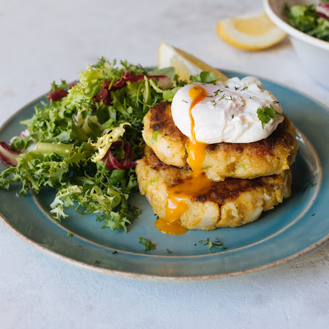 Lightly Spiced Sweet Potato Fish Cakes With Poached Egg