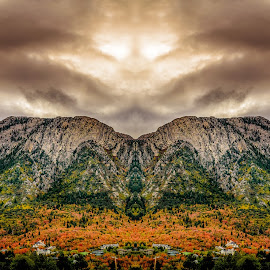 Mount Olympus Mirror by Brandon Montrone - Digital Art Places ( abstract, mountain, rocky mountains, art, fine art, forest, leaves, mirrored reflections, mirror, autumn, color, fall, symmetry, fractal )