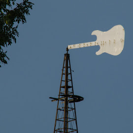 Weather Vane on Iowa Farm by Dave Clark - Landscapes Weather ( farm, weather, guitar )