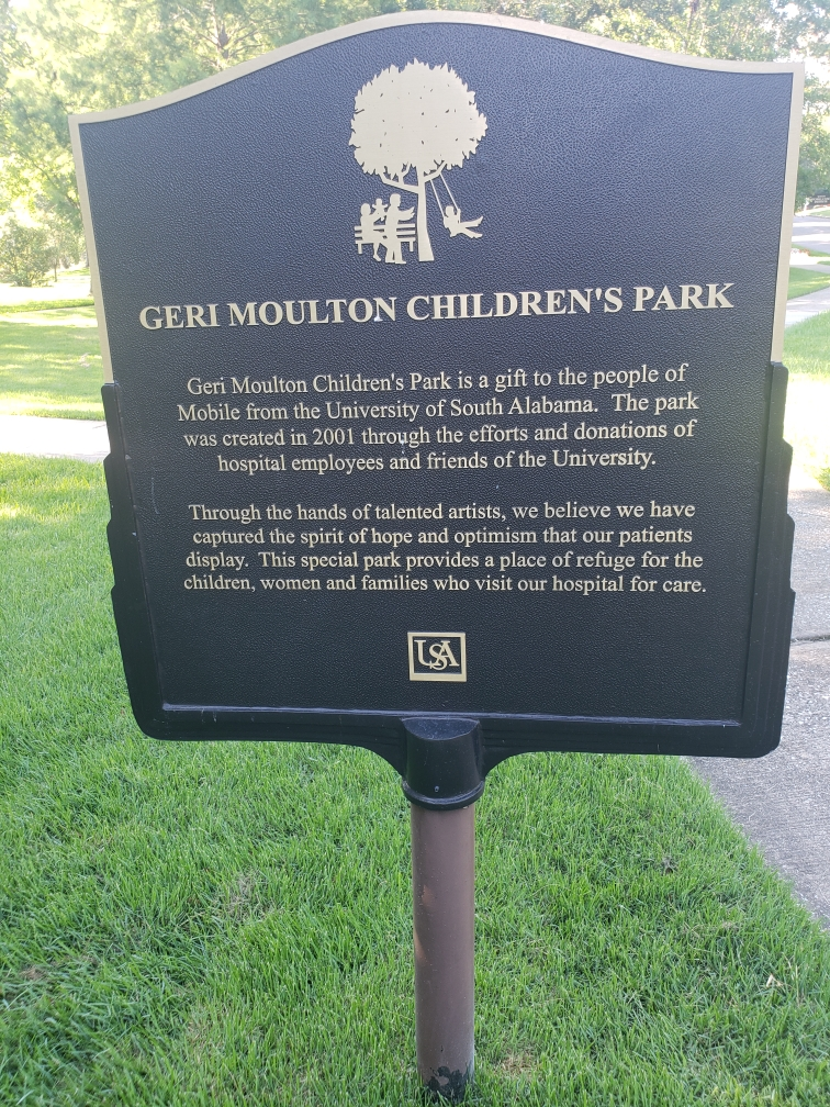 Geri Moulton Children's Park is a gift to the people of Mobile from the University of South Alabama. The park was created in 2001 through the efforts and donations of hospital employees and friends ...