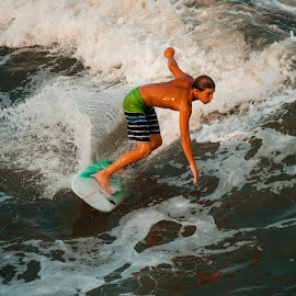 Surfing by Prentiss Findlay - Sports & Fitness Surfing ( surfing, ocean surfing, ocean, beach, beach and surfing )