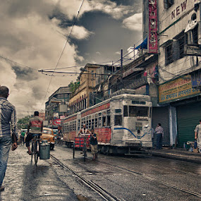 kolkata street in monsoon by  Bivahasutra Wedding Photography - City,  Street & Park  Street Scenes