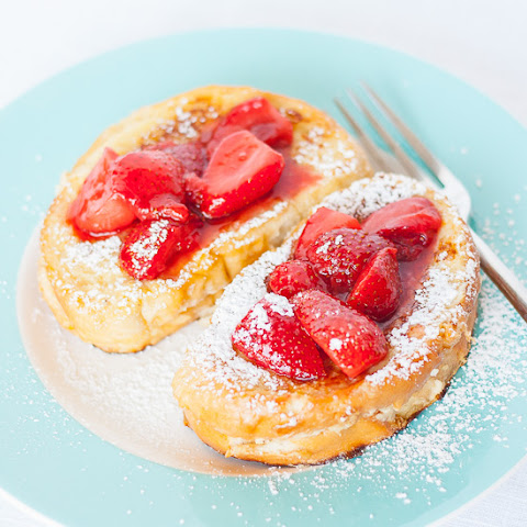 Banana Cream Cheese Stuffed French Toast with Strawberry Topping