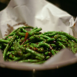 Fried long beans by Varok Saurfang - Food & Drink Plated Food ( cuisine, beans, long beans, fried, chinese )