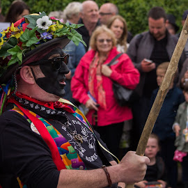 Waiting for the Cue by Marc Steele - People Musicians & Entertainers ( countryside, uk, morris, wellow, may day, black pig border morris, rural, pig, country, england, bank holiday, nottinghamshire, event, dancer, black )