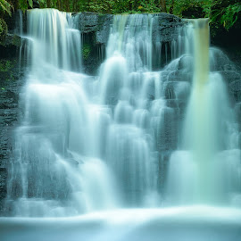Goit Falls by Darrell Evans - Landscapes Waterscapes ( water, stream, nature, yorkshire, outdoor, waterfall, flow, landscape, rivulet, goit stock, river )