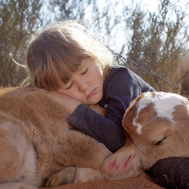 Sleepy by Chrismari Van Der Westhuizen - Babies & Children Children Candids ( animals, friends, children, childhood, sleeping, kids, cattle, cows )