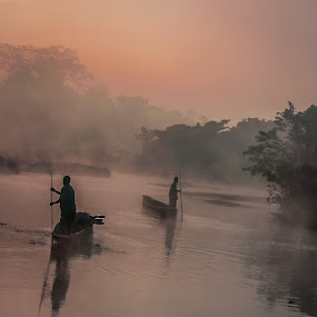 Dug out Canoe by Avtar Singh - Public Holidays Other ( water, reflextion, dawn, boats, men, river )