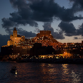 The night in Portovenere by Dario Tarasconi - City,  Street & Park  Night ( liguria, festa, summer, night, seascape, party, la spezia, italy, portovenere )
