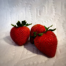 Strawberries by Steve Parsons - Food & Drink Fruits & Vegetables ( red and white, fruit, red, strawberries, berries )