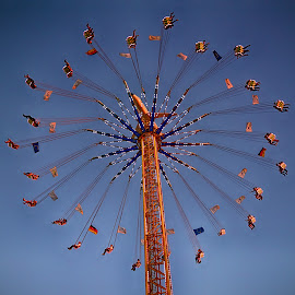 Like A Blooming Flower ! by Marco Bertamé - City,  Street & Park  Amusement Parks ( alex airport, flowe, sky, blue, funfait, air, schuerberfouer, high, luxembourg, turning )
