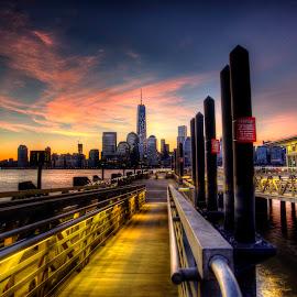 Paulus Hook by Gary Aidekman - City,  Street & Park  Skylines ( manhattan skyline, skyline, pier, manhattan, nyc,  )