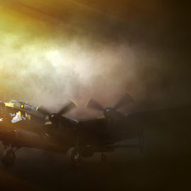 Breaking Fog by Peter Rollings - Digital Art Things ( sunbeams, wwii, fog, aircraft, bomber, drama, lancaster, shadows )