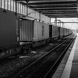 Estação de comboios de Aveiro by Carlos Costa - Black & White Buildings & Architecture ( train station, railway, station, railroad, aveiro, train, portugal,  )