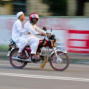 pann - 2 by Moin Ally - Transportation Motorcycles ( g, 1.8g, old, motorbike, white, 50mm, helmet, people, dhaka, 1.8, two, bangladesh, red, bike, motorcycle, beard, nikon, d5100, senior )