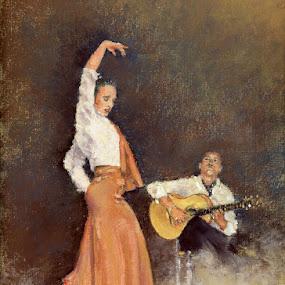 Aires de Raja Flamenca by Margaret Merry - Painting All Painting ( dancing, pastel, spanish, bailaora, art, drawing, spain, flamenco, andalucia, margaret merry, prints, dance, painting, almeria, dancer )