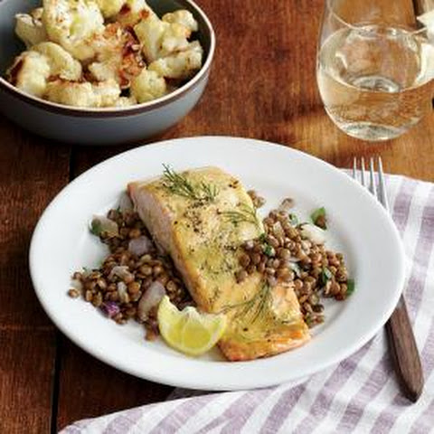 Mustard-Glazed Salmon Fillets with Roasted Cauliflower